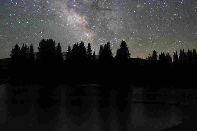 The Milky Way shines brightly above Tuolumne Meadows.
