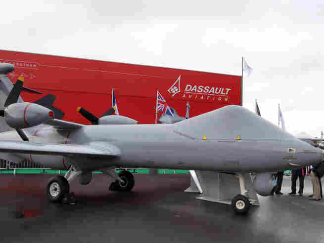A model of a surveillance drone by the French Dassault Aviation and the British BAE Systems is on display at the International Paris Air Show in June.