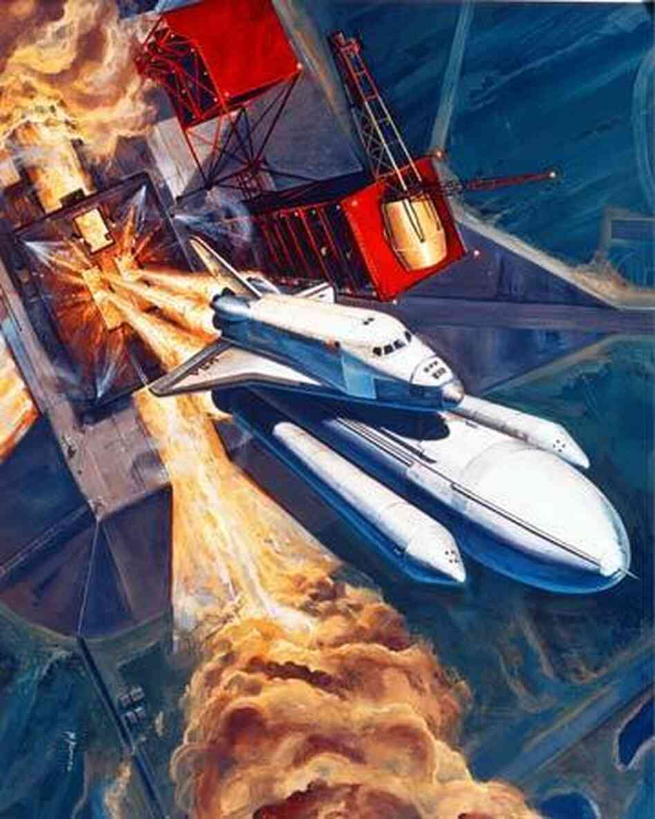 The shuttle, as seen in this mid-1970s illustration, was envisioned as a low-cost, quick-turnaround truck to space.