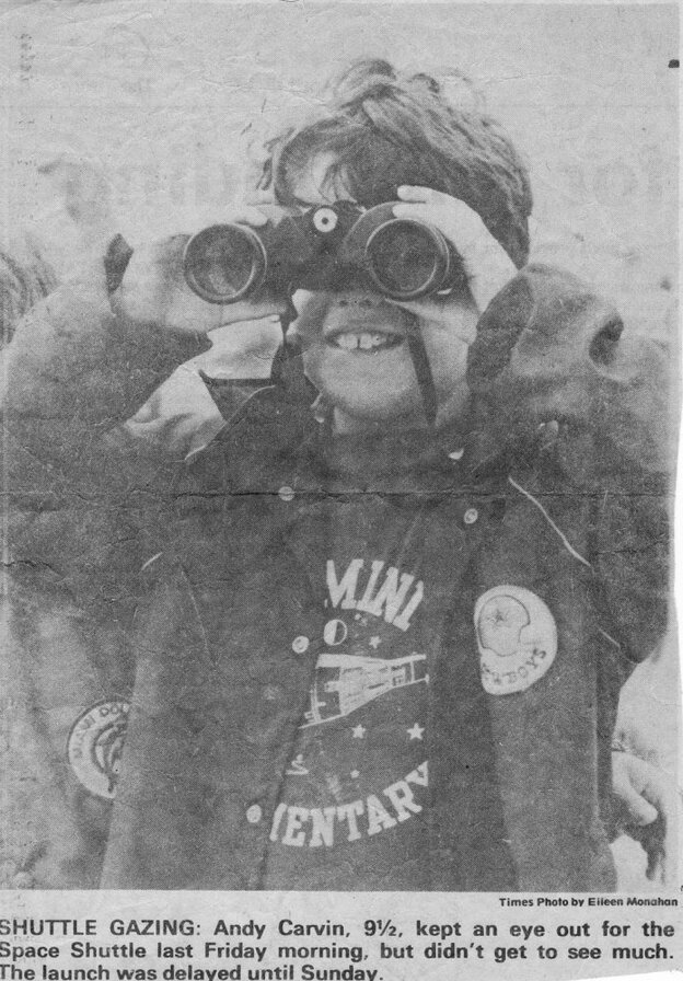 This newspaper clipping from the Florida Today shows a 9-year-old Andy Carvin waiting to watch the first shuttle  launch in in April 1981. The launch was scrubbed that day, but Carvin has since managed to attend more than 30 launches.