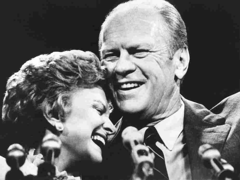 First lady Betty Ford and President Gerald Ford share a laugh together.