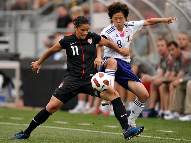 A Good Luck Charm? The U.S. women's team is undefeated when wearing all black since the uniforms were introduced on May 14. In that game against Japan, Ali Krieger battled for control of the ball.