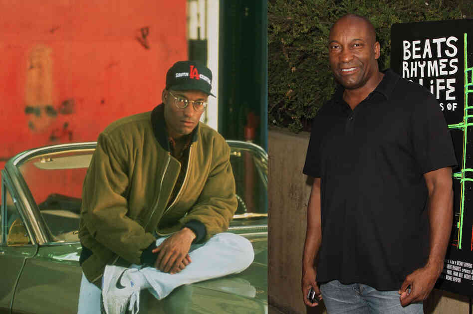 Singleton, at left on the set in 1991, won two Oscar nominations – for best director and best original screenplay – for Boyz N The Hood. At right, the director in Los Angeles last month. Singleton's most recent film was 2005's Four Brothers, which starred Mark Wahlberg and Andre Benjamin. Credits: Sony Pictures Home Entertainment and Valerie Macon/Getty Images