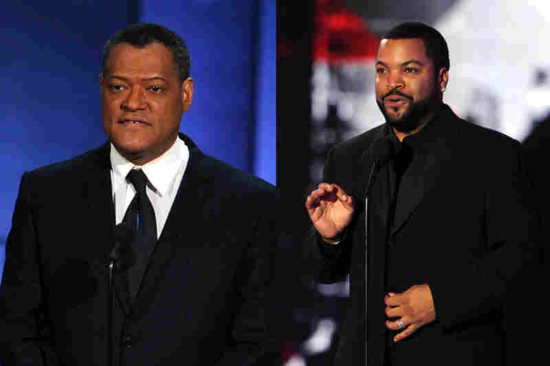 Fishburne (left) at the Emmy awards in 2010. At right, Ice Cube appears onstage at the Critics' Choice Movie Awards in January. Credits: Kevin Winter/Getty Images (both photos)