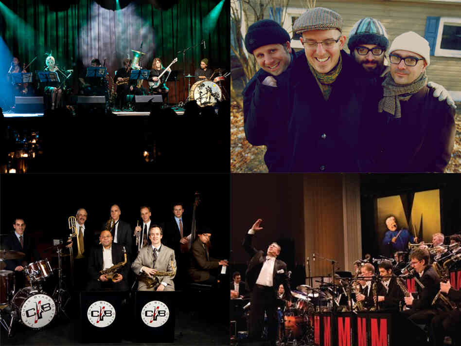 Clockwise from top left: Brian Carpenter's Ghost Train Orchestra, KLANG, Bobby Sanabria and the Manhattan School of Music Afro-Cuban Jazz Orchestra, Chris Byars Octet.