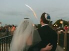 We were married the evening of one of the last night launches from Cape Canaveral. Our wedding was at Walt Disney World, FL and we are standing at the Italy Isola pavilion in EPCOT. Could not have been a more beautiful evening — better than fireworks!  March 15, 2009, Our Disney Wedding