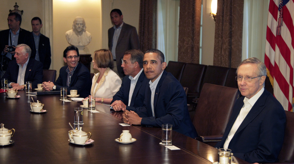 President Obama meets with bipartisan congressional leaders on the debt.