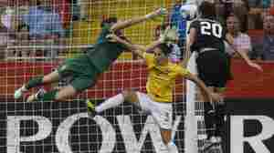 United States' Abby Wambach scores her side's second goal during the quarterfinal match between Brazil and the United States at the Women's Soccer World Cup in Dresden, Germany, on Sunday.