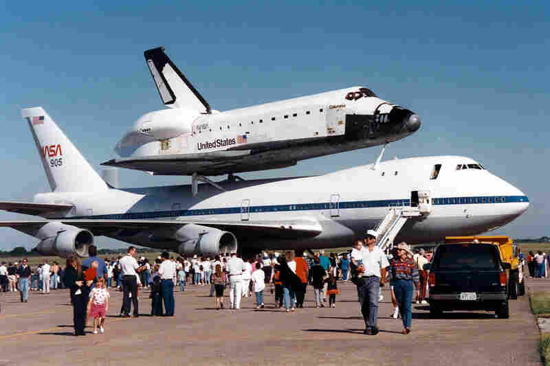"STS-4, Columbia, July, 1982:""Space shuttle Columbia stopped overnight at Ellington Field in Houston on the way back to Florida after landing in California, and the public was invited to tour the Shuttle Carrier Aircraft. Security was much looser back in the early 80's.In those years I worked in Bldg 4 at the Johnson Space Center, developing software used for planning and scheduling train..."