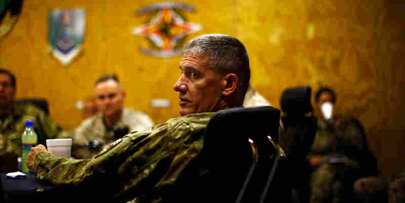 Here, Rodriguez meets with the Marine command at Camp Leatherneck in southern Afghanistan.