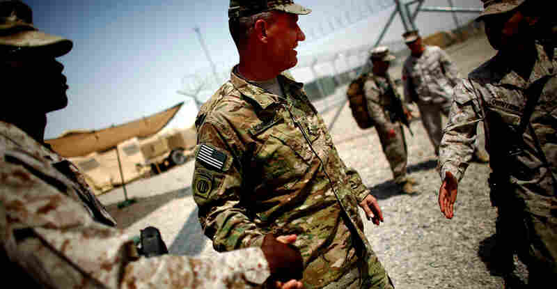 At Camp Dwyer in southern Afghanistan. Rodriguez says that progress has been made pushing back the Taliban in Helmand province. Now he says, the challenge is how to reduce U.S. forces.