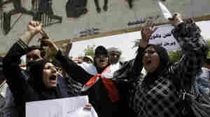 Iraqi demonstrators shout slogans during a weekly protest against corruption, unemployment and poor public services in the war-torn country at Baghdad's Tahrir Square on July 8. Mahmoud Othman, a Kurdish member of Parliament, says it's the Iraqi people who are losing out as a political stalemate continues.