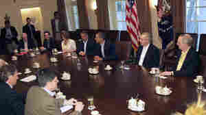 President Obama meets with congressional leadership in the Cabinet Room of the White House on Sunday to discuss the debt.