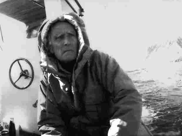 """Edmund """"Ted"""" Carpenter on a ship from a Greenland expedition in the 1990s."""