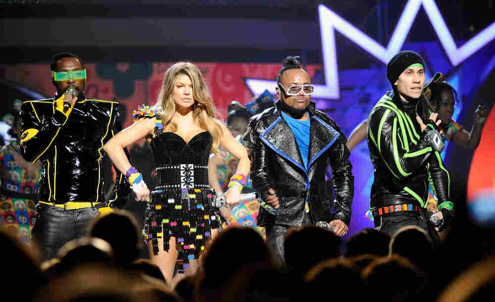 The Black Eyed Peas, from left to right: will.i.am, Fergie, Apl.de.ap and Taboo, onstage during Nickelodeon's 24th Annual Kids' Choice Awards in April