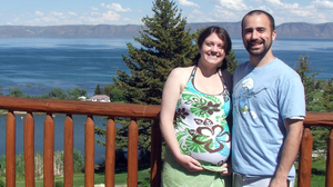 Lucy and Aaron Peck at Bear Lake on the Utah-Idaho border. Lucy is planning to have a drug-free birth in the hospital with the help of her husband Aaron.