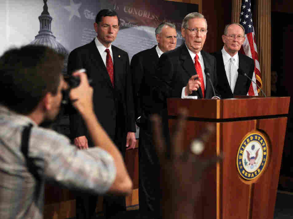 Senate Minority Leader Sen. Mitch McConnell and other GOP Senate leaders speak to journalists on Tuesday.