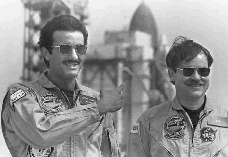 Saudi Prince Sultan Bin Salman Bin Abdulaziz Al-Saud (left) with shuttle pilot John O. Creighton in 1985 before his historic mission.