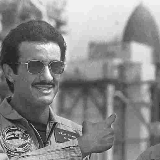 Saudi Prince Sultan Bin Salman Bin Abdulaziz Al-Saud (left) with shuttle pilot John O. Creighton in 1985 before his historic mission.
