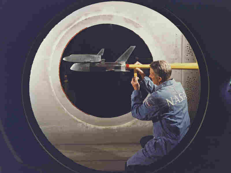 A 1978 wind tunnel test of the space shuttle was used to gather data to help create flight simulation programs.