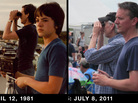 Now and then: A composite image shows a father and son watch the first and last shuttle launch.