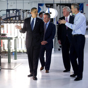 President Obama tours Cree, Inc., a manufacturer of energy efficient LED lighting, in North Carolina on June 13. Economists believe the innovation of new technology would create jobs and boost the economy.
