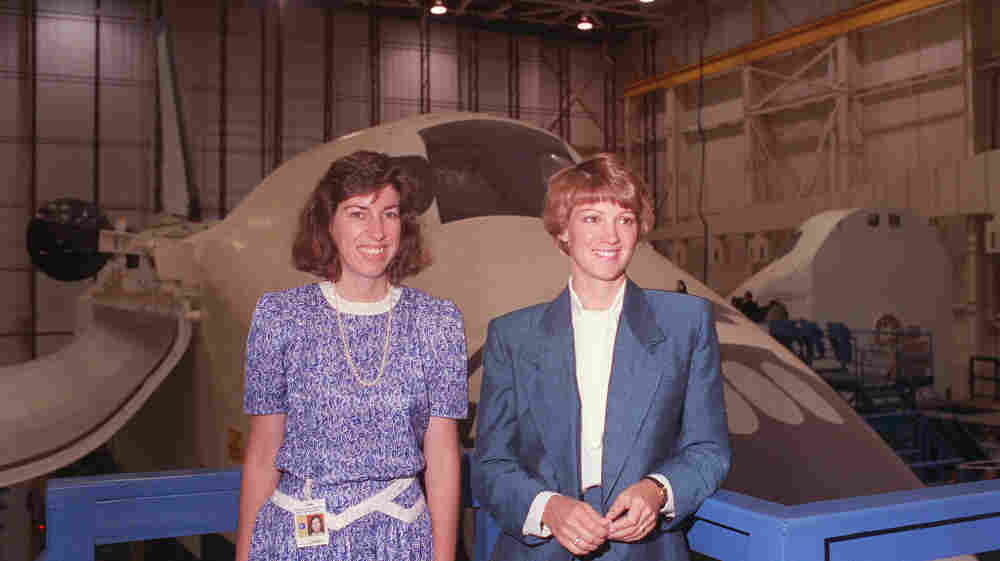 Ellen Ochoa (left), the first Hispanic female astronaut, and Major Eileen M. Collins, the first woman to be named as a pilot candidate, begin their first day of candidate training at NASA in Houston, Texas, on July 16, 1990.