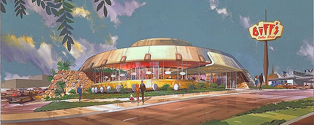 """Unidentified Fashion Object: A 1963 rendering shows the design for Biff's Coffee Shop in Oakland, Calif. """"It almost looked like a flying saucer,"""" says Victor Newlove of Armet Davis Newlove Architects. """"It looks like it's about ready to lift off."""""""