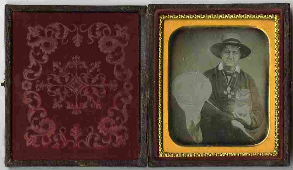 Daguerreotype of a lepidopterist (butterfly collector), circa 1850