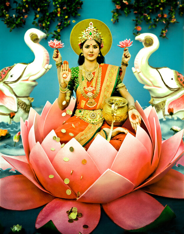 """Maa laxmi, says photographer Manjari Sharma, is the Hindu goddess of wealth and fortune, is a photograph in the series Darshan, a sanskrit word meaning """"sight, vision or view."""""""