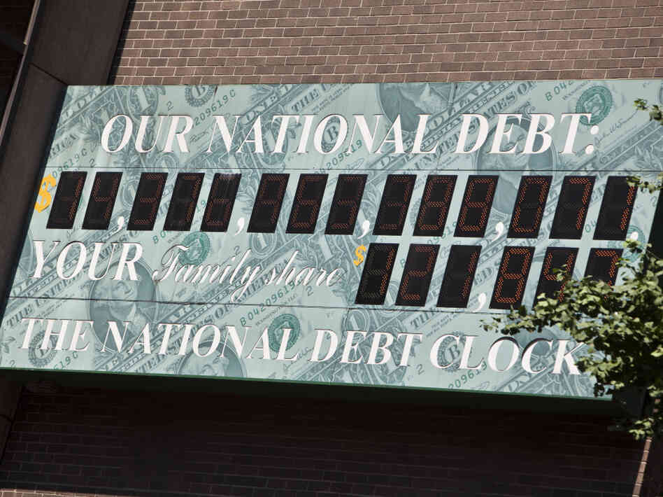 National Debt Clock billboard in Midtown Manhattan, July 11, 2011.