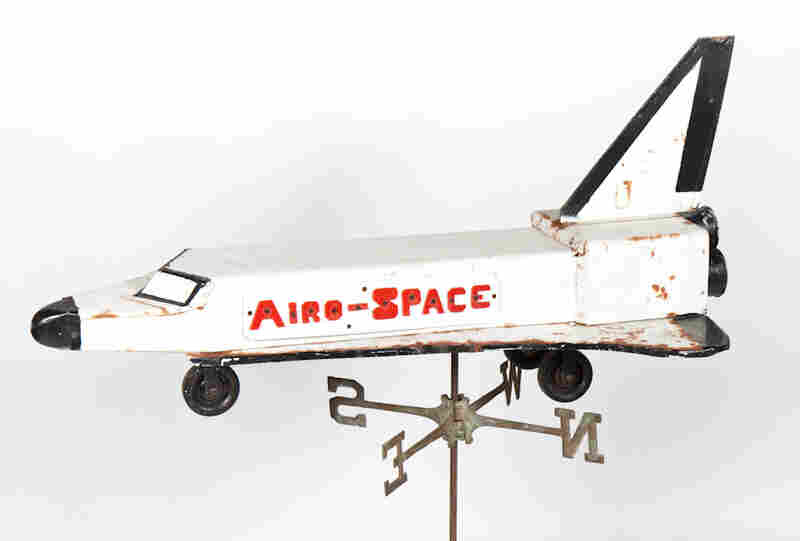 A weather vane made by a Pennsylvania farmer during the  1980s is the one Space Shuttle-themed artifact John Kleeman has in his collection at the Space Age Museum.