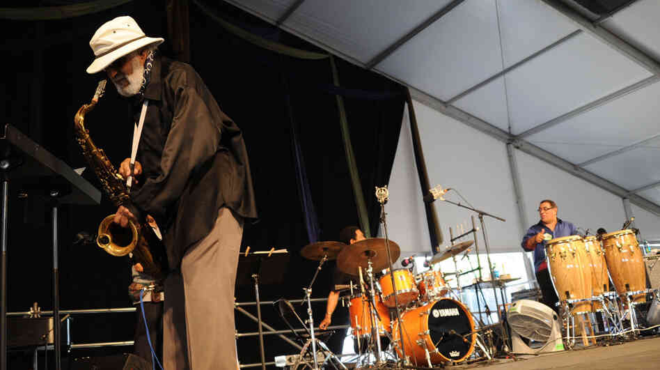 Sonny Rollins plays the New Orleans Jazz and Heritage Festival in 2011.