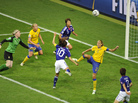 Japan's midfielder Homare Sawa (10) scores the go-ahead goal against Sweden in their Women's World Cup semifinal match. Sawa has four goals in the tournament.