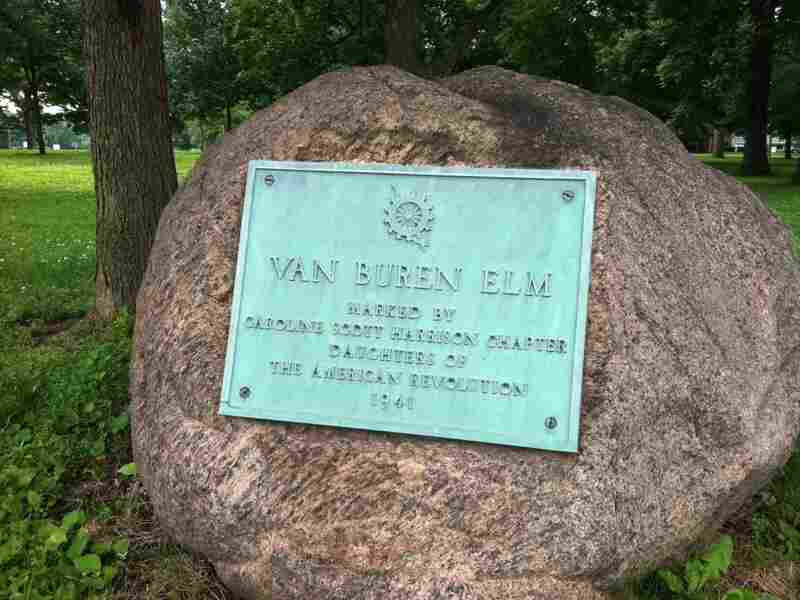 A plaque marks the spot where former President Martin Van Buren's carriage overturned into the mud in Plainfield, Ind.