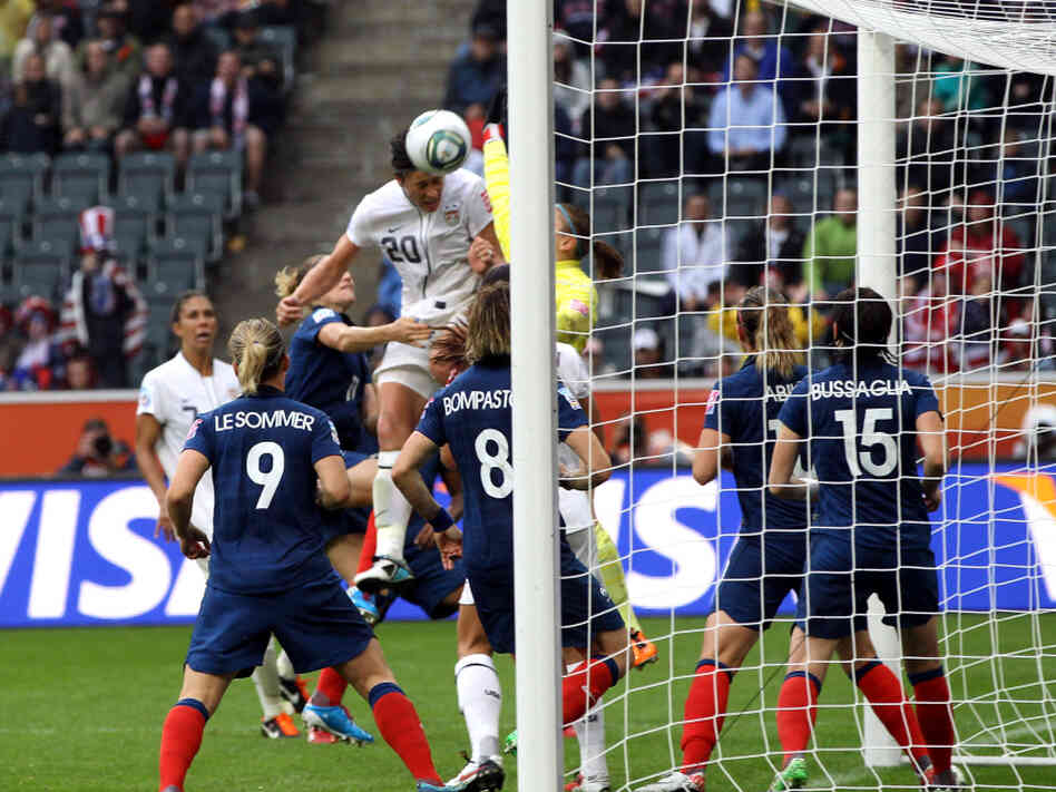 Abby Wambach scores the second U.S. goal against France during their FIFA Women's World Cup 2011 semifinal match. The Americans won, 3-1.