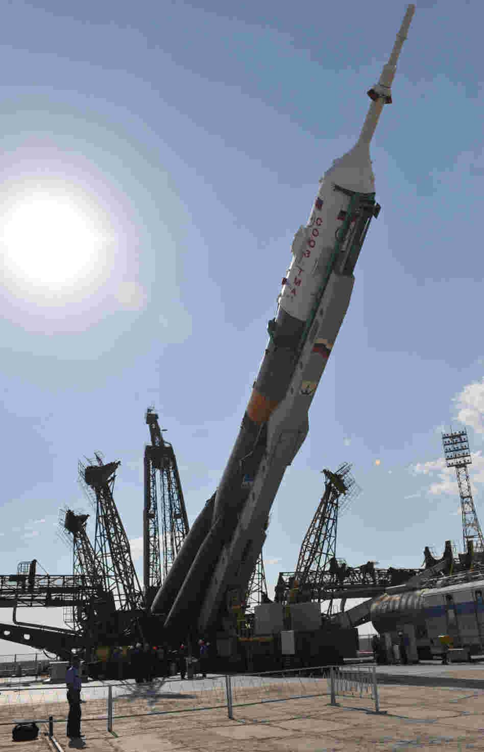 A Russian Soyuz rocket is mounted at a launchpad on June 5.