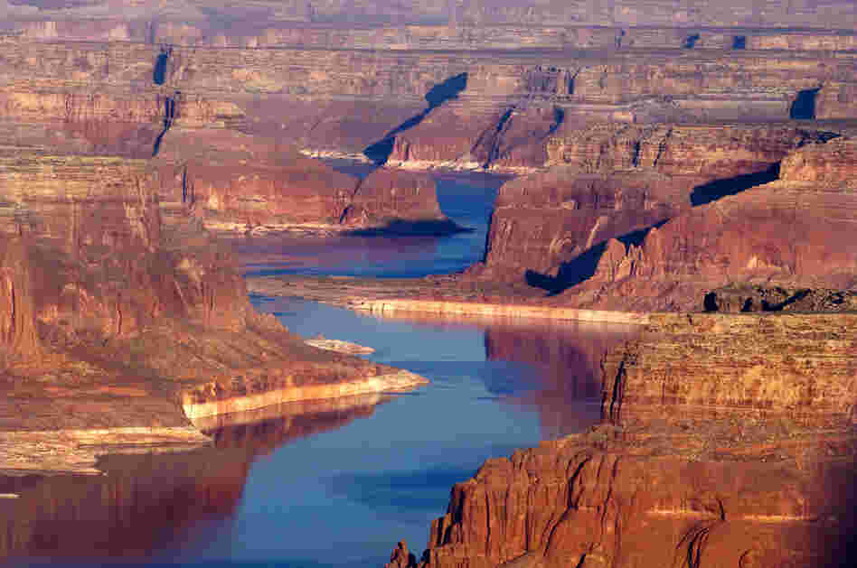 The Colorado River winds through the upper canyons of Lake Powell, Utah.