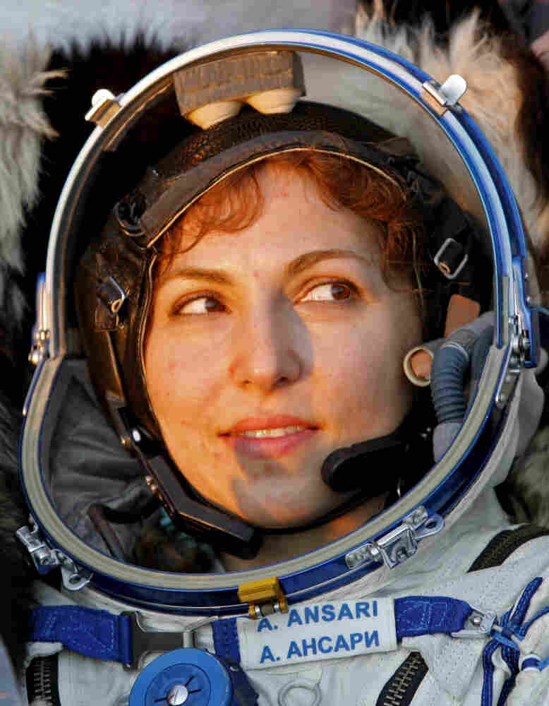 Anousheh Ansari seen shortly after returning to earth from her 2006 space flight.