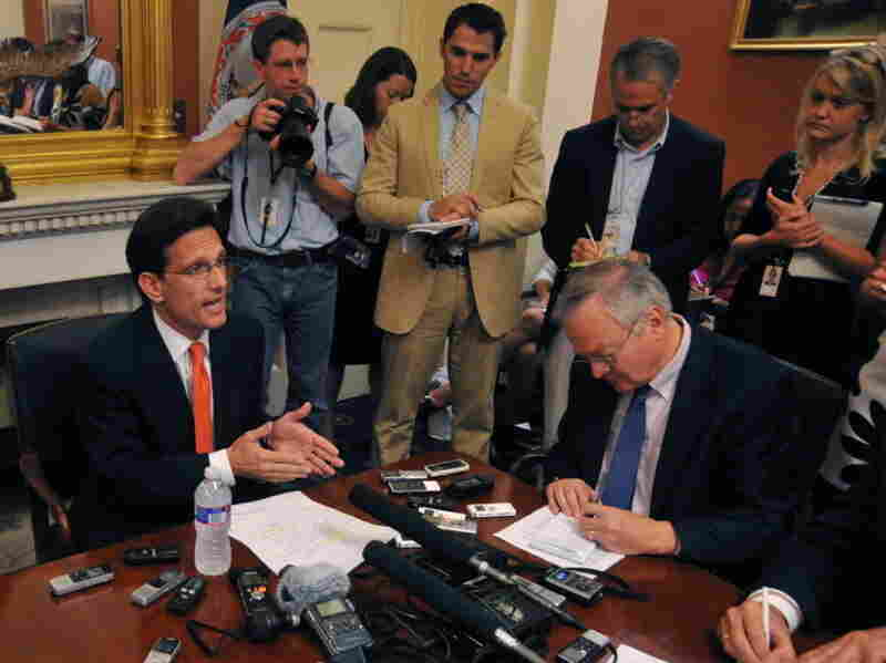 House Majority Leader  Eric  Cantor  (R-VA) speaks to reporters on July 11.