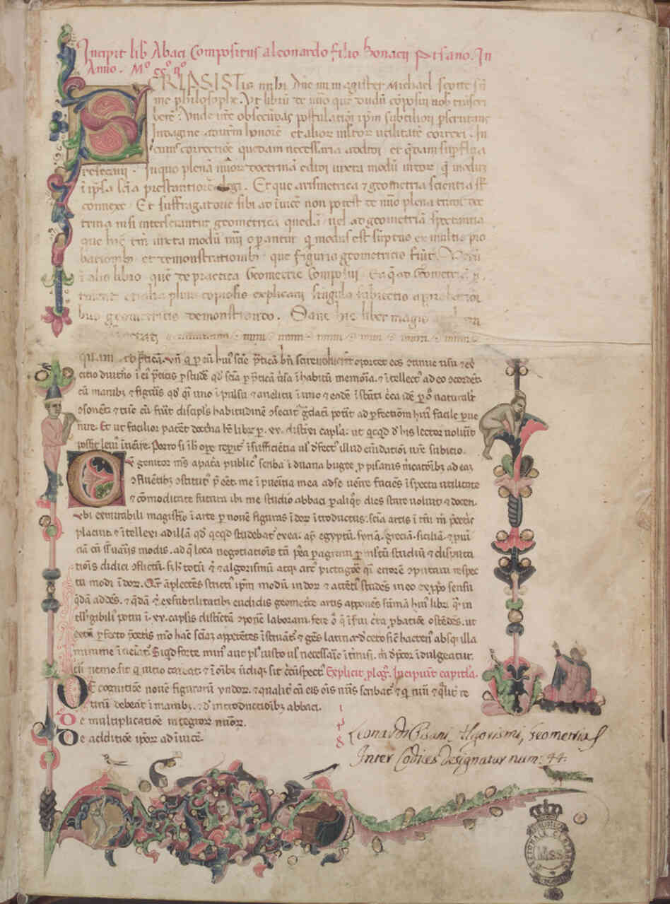 The Latin phrase filius bonacci, in the first line of the Liber Abaci manuscript (above), gave rise to Leonardo da Pisa's modern nickname, Fibonacci. Click Here For A Closer Look