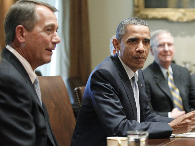 President Obama with House Speaker John Boehner and Senate Minority Leader Mitch McConnell,  Wednesday, July 13, 2011.