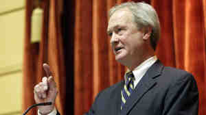 Rhode Island Governor Lincoln Chafee delivers his budget address to a joint session of the general assembly Tuesday, March 8, 2011, at the Statehouse in Providence, R.I.