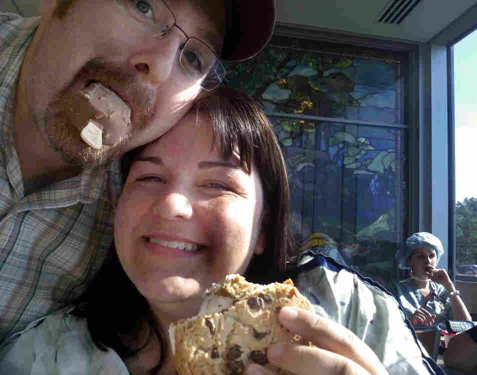 """Andrea has been  in the hospital for four days, as doctors work to prevent her twin girls  from being born too soon. Here, she and husband Jeff have a """"hot date""""  with ice cream at the hospital cafeteria."""