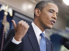 President Obama talks about the ongoing budget negotiations on Monday in the briefing room of the White House in Washington.