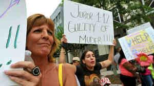 Protesters blast the Casey Anthony verdict outside of the Orange County Courthouse in Orlando, Florida. Some have vented their fury at the 12-person jury.