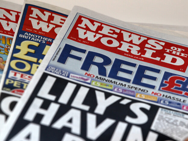 The scandal began at News of the World, which folded last Su