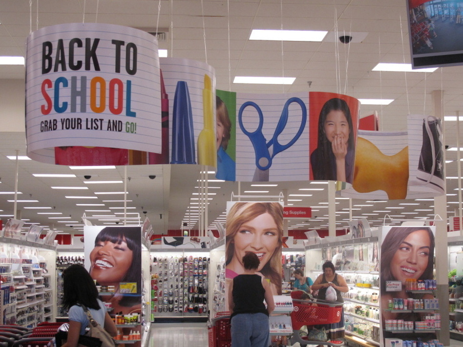 Back-to-school banners greet shoppers at a Target store in Columbia, Md. (Hansi Lo Wang/NPR)
