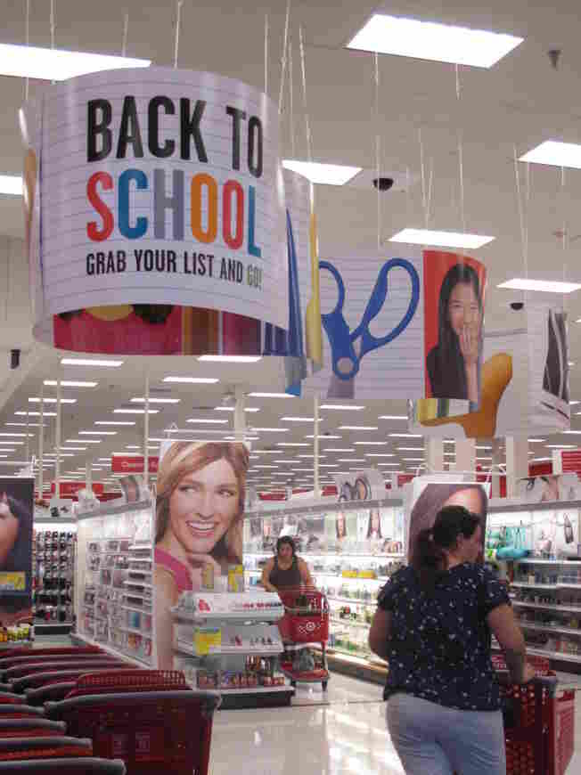 Back-to-school banners welcome shoppers at a Target store in Columbia, Md.