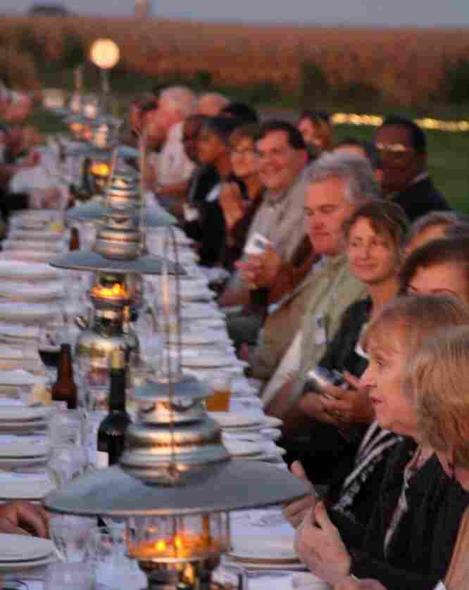 Farm dinners happen at St. Brigid's Farm in Maryland rain or shine. They serve multicourse meals in the field.